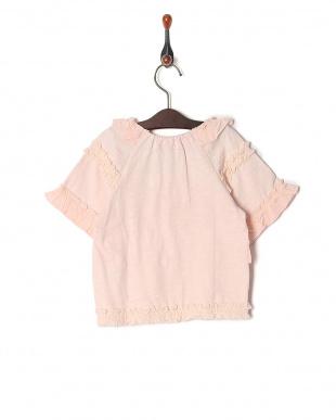 ピンク 五分袖フリルTシャツを見る