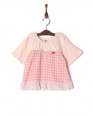 ピンク ギンガム切替Tシャツを見る