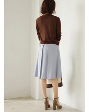 サックスブルー [Made in JAPAN]リネン混タックフレアスカートを見る