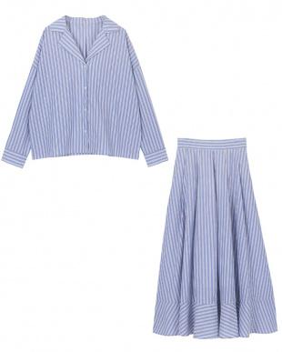 ブルー ストライプシャツ×スカートセットアップを見る