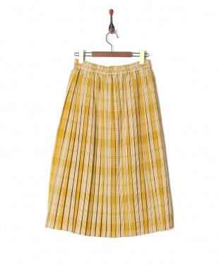 イエロー 先染めチェックプリーツスカートを見る