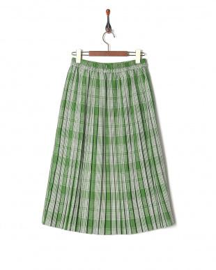 グリーン 先染めチェックプリーツスカートを見る