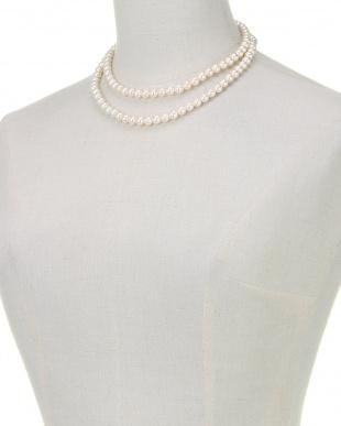 ホワイト/シルバー 貝パールホワイト7mm玉 2連ネックレスを見る