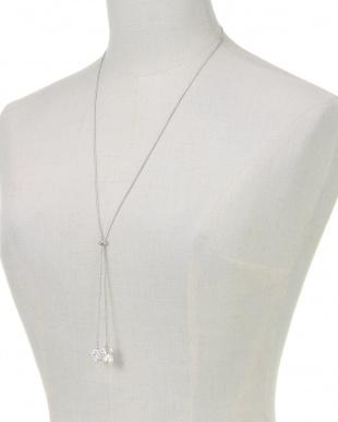 シルバー/ホワイト/クリスタル ホワイト貝パールスライドスネークチェーン Yスタイルネックレスを見る