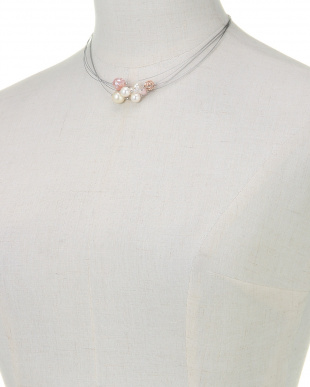 ホワイト/ピンクマルチ/シルバー ピンクトーンビーズ×貝パール ワイヤーネックレスを見る