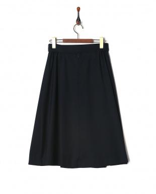 ダークネイビー ベルト付タックフレアースカートを見る