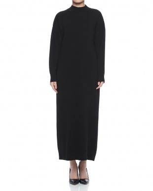 ブラック ウールスムースロングドレスを見る