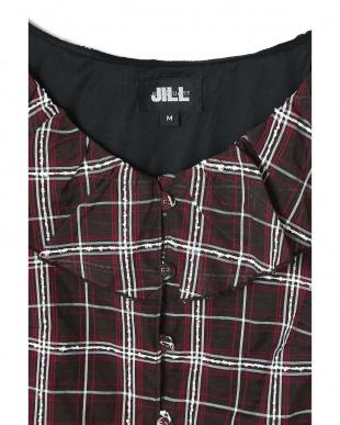 ブラウン ダブルフリルチェックブラウス Jill by Jill リプロを見る