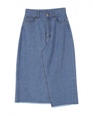 ブルー バックスリットデニムタイトスカートを見る