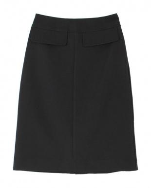 ブラック Aラインミモレ丈スカートを見る