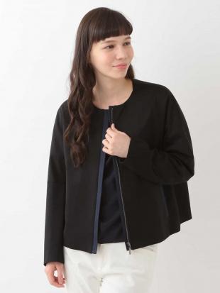 ブラック 【洗える】【日本製】ノーカラーショートジャケット GEORGES RECHを見る