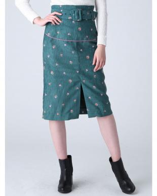 グリーン コーデュロイナロースカート dazzlinを見る