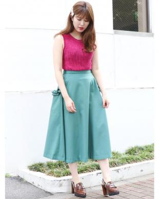 グリーン ボリュームフレアスカート dazzlinを見る