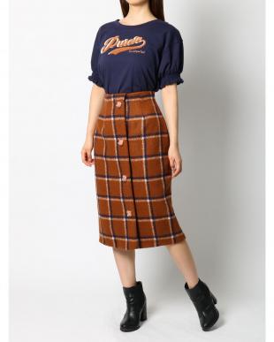 ボルドー ロゴ刺繍Tシャツ dazzlinを見る