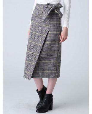 ブラック チェックラップスカート dazzlinを見る