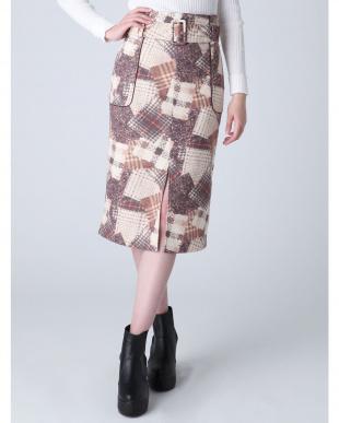 ベージュ バリエーションチェックナロースカート dazzlinを見る