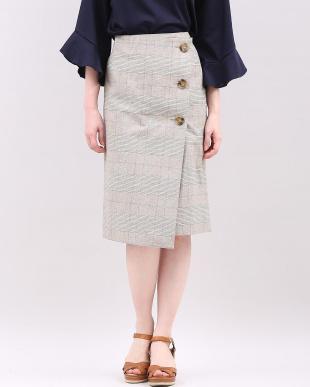 ブラック チェックデザインラップスカート INEDを見る
