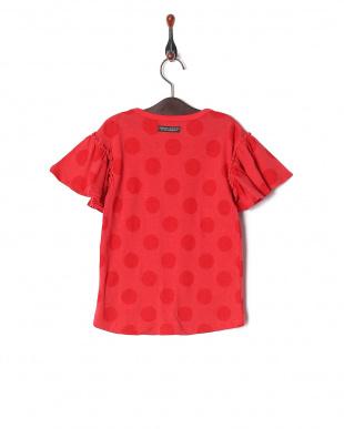 オレンジ 袖フリルドットTシャツを見る