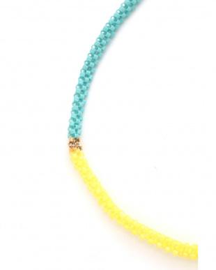 ブルー カラービーズ2連ネックレス ヒューマン ウーマンを見る