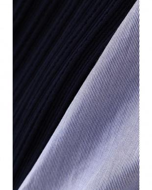 ネイビー×ブルーストライプ ボリューム袖布帛コンビニット アッシュスタンダードを見る