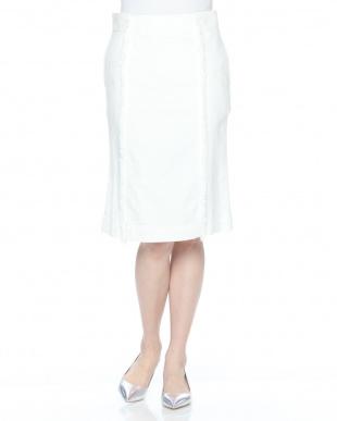 white パネル切替デニムスカートを見る