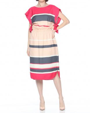pink ドローイングボーダードレスを見る