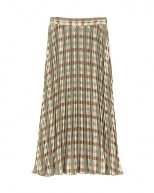 ミントグリーン チェックプリーツスカートを見る