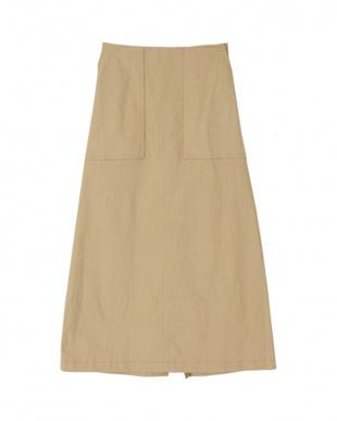 ライトベージュ ストレッチAラインスカートを見る