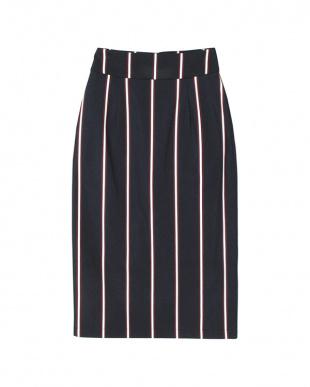 ネイビー レジメンタルストライプタイトスカートを見る