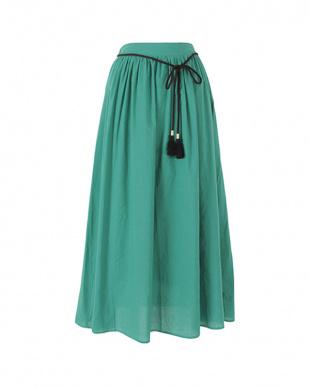 グリーン タッセルベルト付きコットンギャザースカートを見る