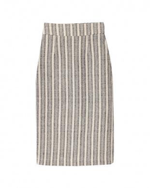 ストライプ/ブラック ハイウエストバックスリットタイトスカートを見る