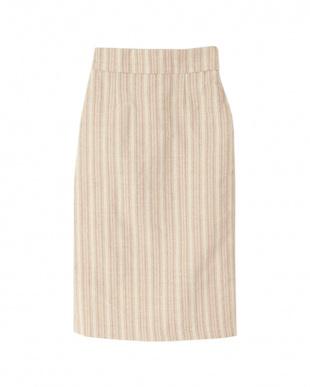 ストライプ/ライトベージュ ハイウエストバックスリットタイトスカートを見る