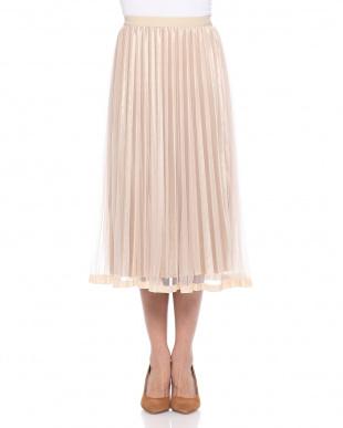 ベージュ ウエストゴム メッシュ&別珍2枚重ねプリーツスカートを見る