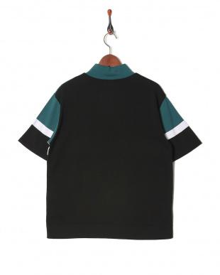 ブラック 0060041019カラーブロック ハーフジップティーシャツを見る