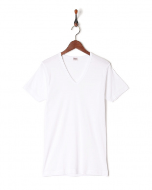 ホワイト  綿100% GOLD 2枚組V首半袖シャツを見る