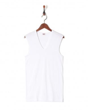 ホワイト  綿100% GOLD 2枚組V首スリーブレスシャツを見る