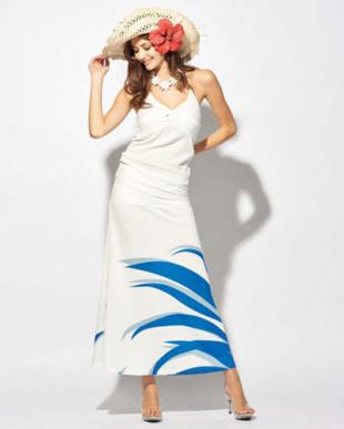 ホワイト/ブルー Ocean Blue Bird 2WAY スカート(ニューポリネシアンリーフ)を見る