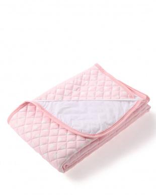 ピンク ドット柄  さらさら防水敷きパッド キングを見る