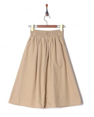 ベージュ 綿ブロード無地スカートを見る