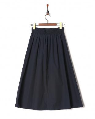 ネイビー 綿ブロード無地スカートを見る