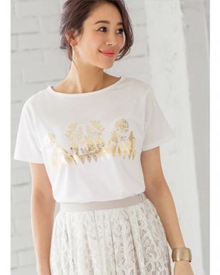ホワイト×ゴールド ボタニカル箔プリントTシャツを見る