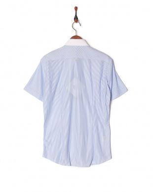 ライトブルー イージーケア ジャージーストライプハーフスリーブシャツを見る