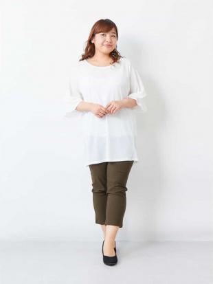 ホワイト 【大きいサイズ】袖デザイン!さらさら素材チュニック eur3を見る