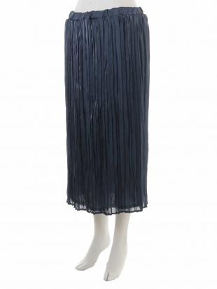 ブルー 【大きいサイズ】サテンプリーツスカート eur3を見る