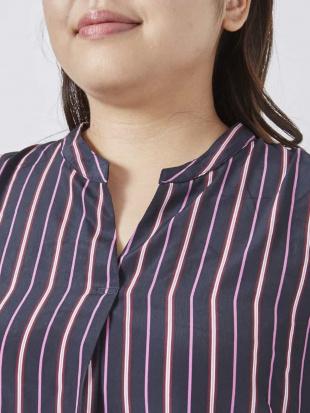 ネイビー 【大きいサイズ】ストライプスキッパーシャツ eur3を見る