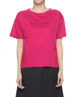 ピンク ロゴプリント ボリュームTシャツを見る