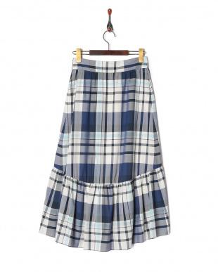 ネイビー マドラスチェック ロングスカートを見る