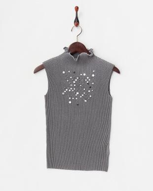シャンブレーグレー ラメコード&スパンコール刺繍スタンドネックノースリーブを見る