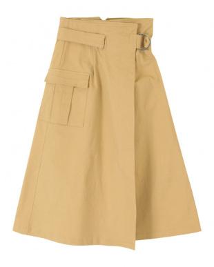 ベージュ ポケット付きミリタリーラップスカートを見る