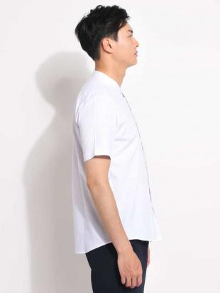 ライトブルー バンドカラ―オックス半袖シャツ a.v.v HOMMEを見る